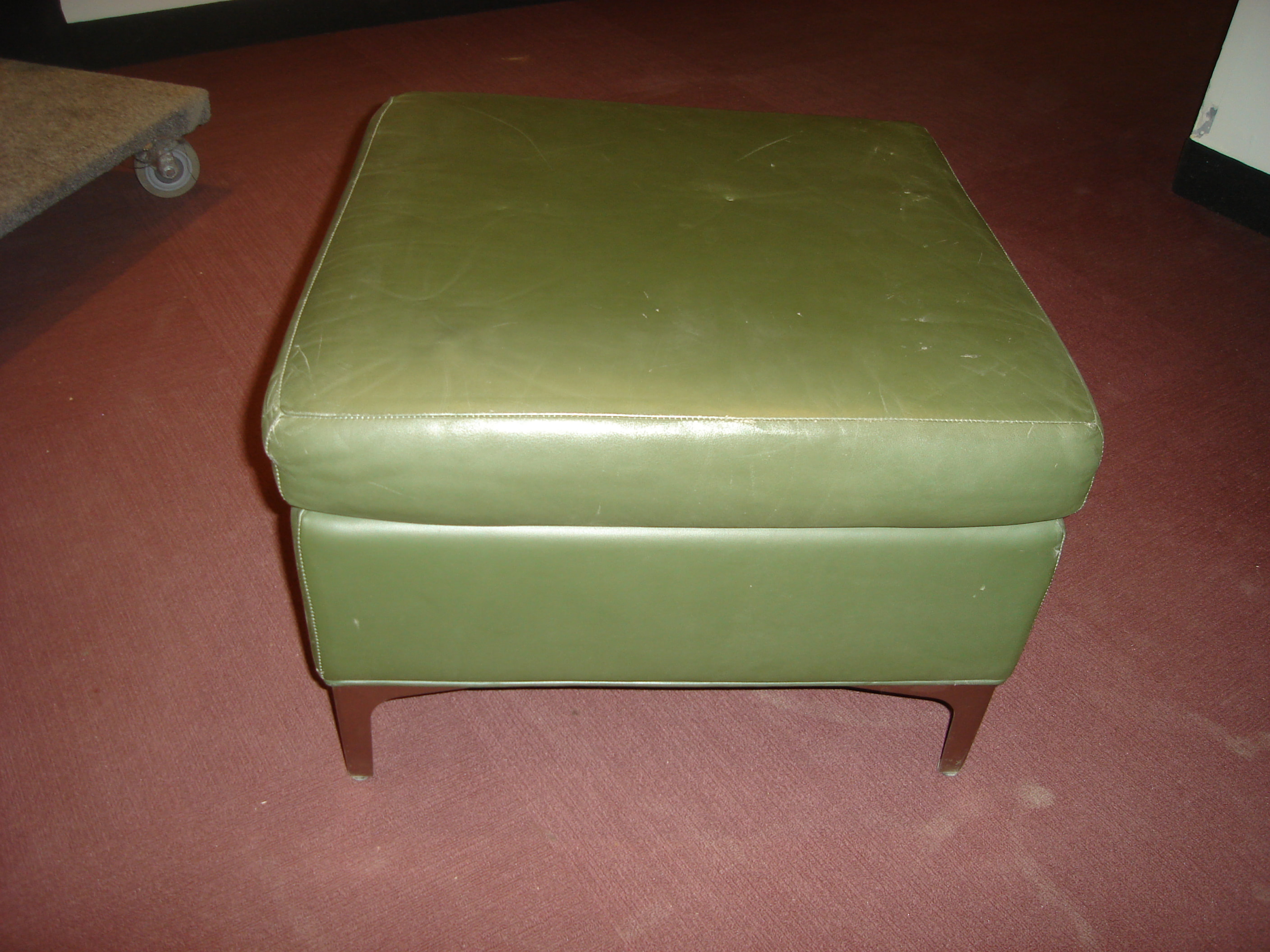 Fabulous Green Leather Ottoman Beatyapartments Chair Design Images Beatyapartmentscom